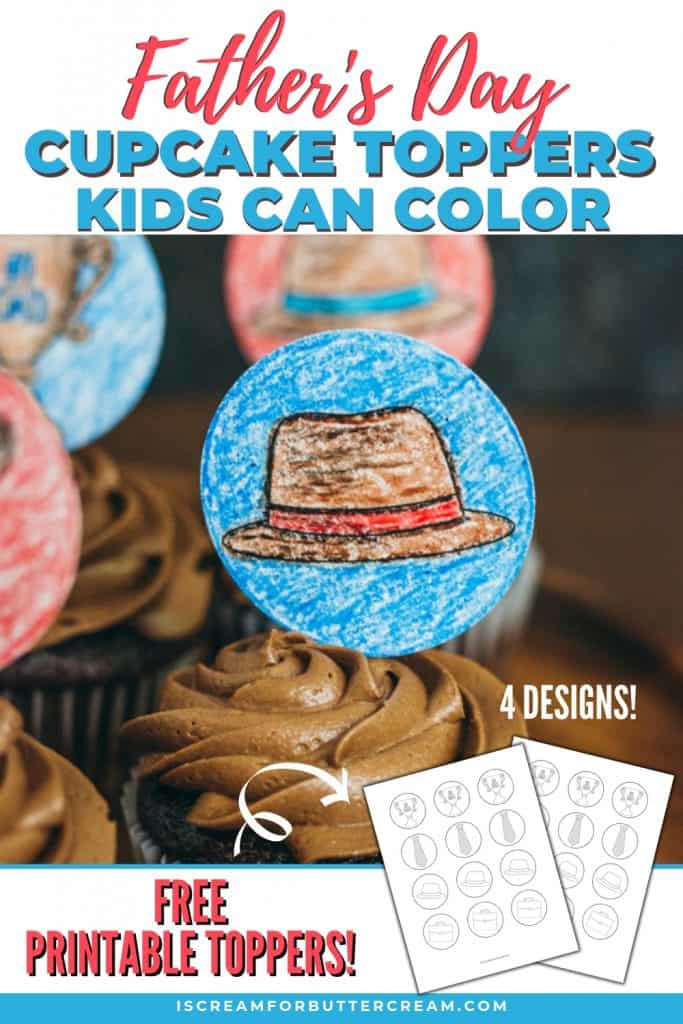 Father's Day Printable Cupcake Toppers Kids Can Color Pinterest Graphic 2