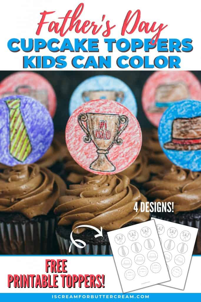 Father's Day Printable Cupcake Toppers Kids Can Color Pinterest Graphic 4