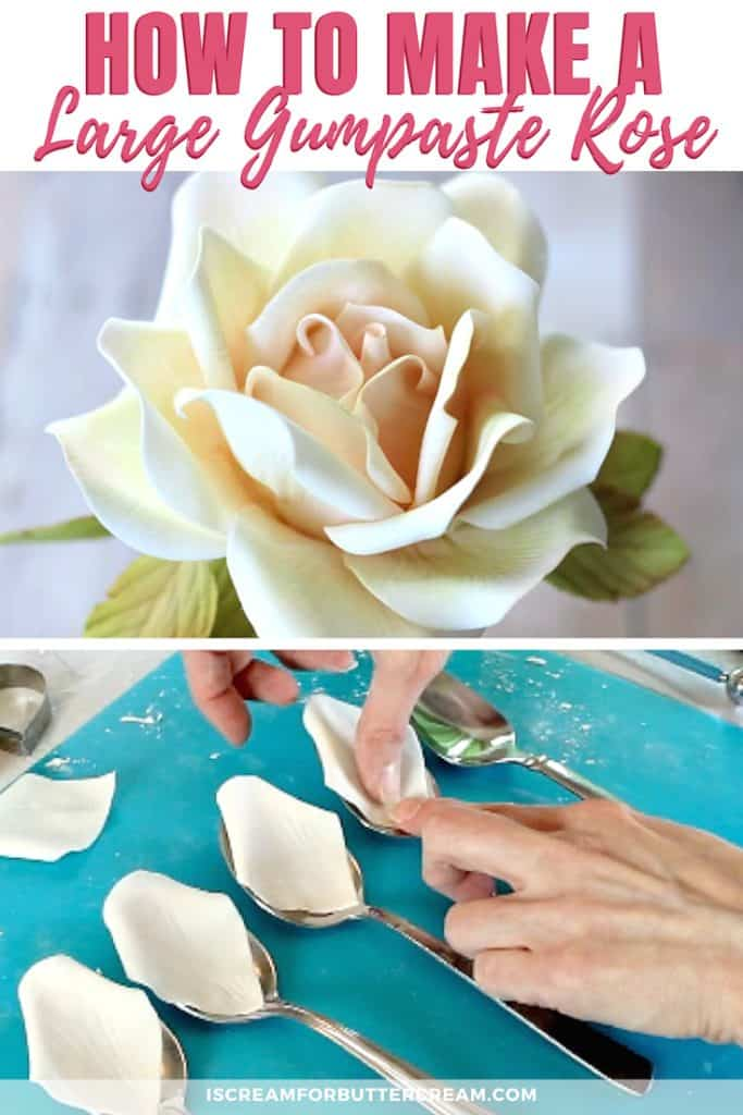 How to Make a Large Gumpaste Rose New Pin Graphic 1