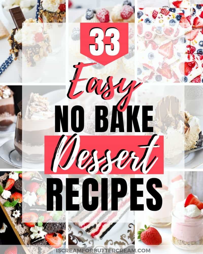 33 easy no bake desserts blog title graphic