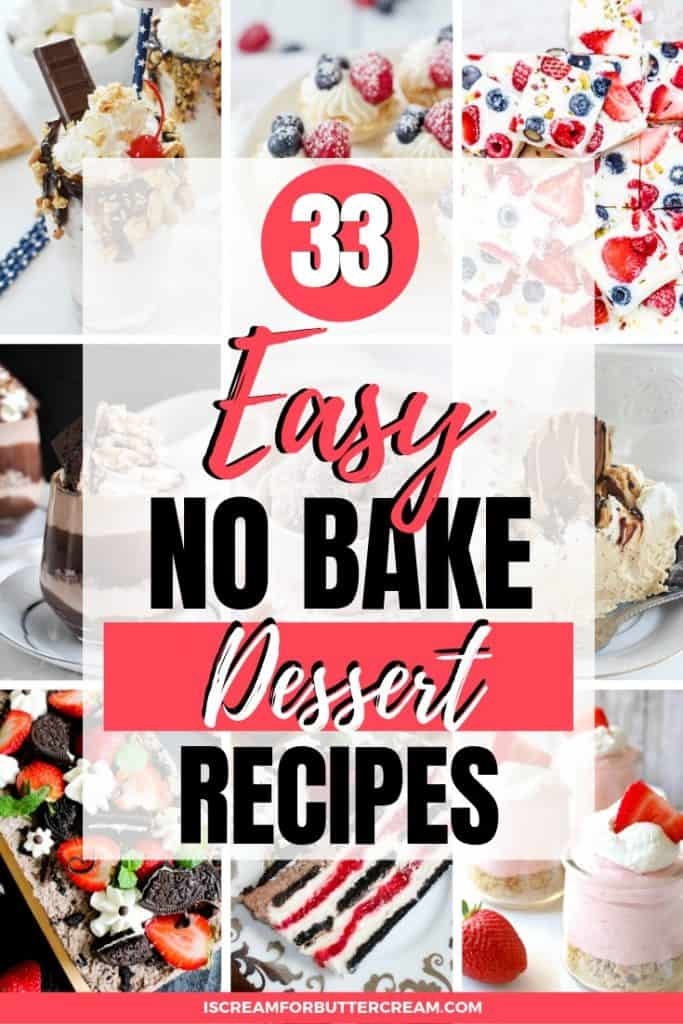 easy no bake dessert recipes pin graphic