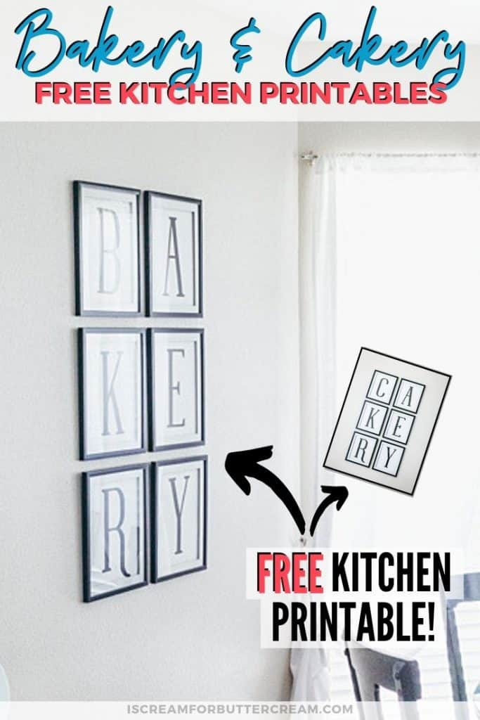 Bakery Cakery Free Kitchen Printables Pin Graphic 2