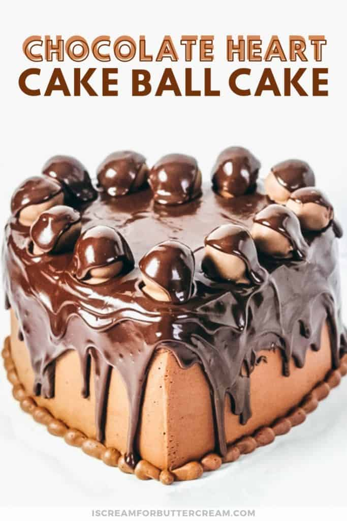 chocolate heart cake with drip pinterest graphic