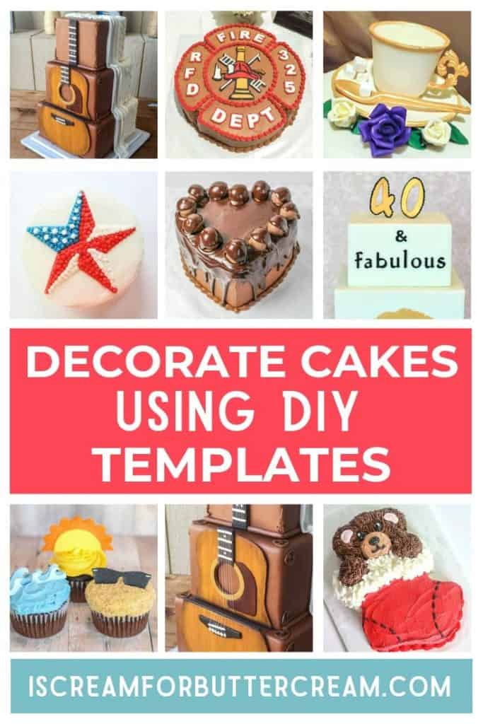 decorate cakes using diy templates pin graphic