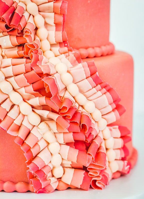 fondant ruffles on a pink fondant cake