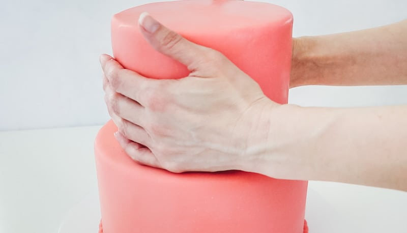 adjust fondant tier with your hands