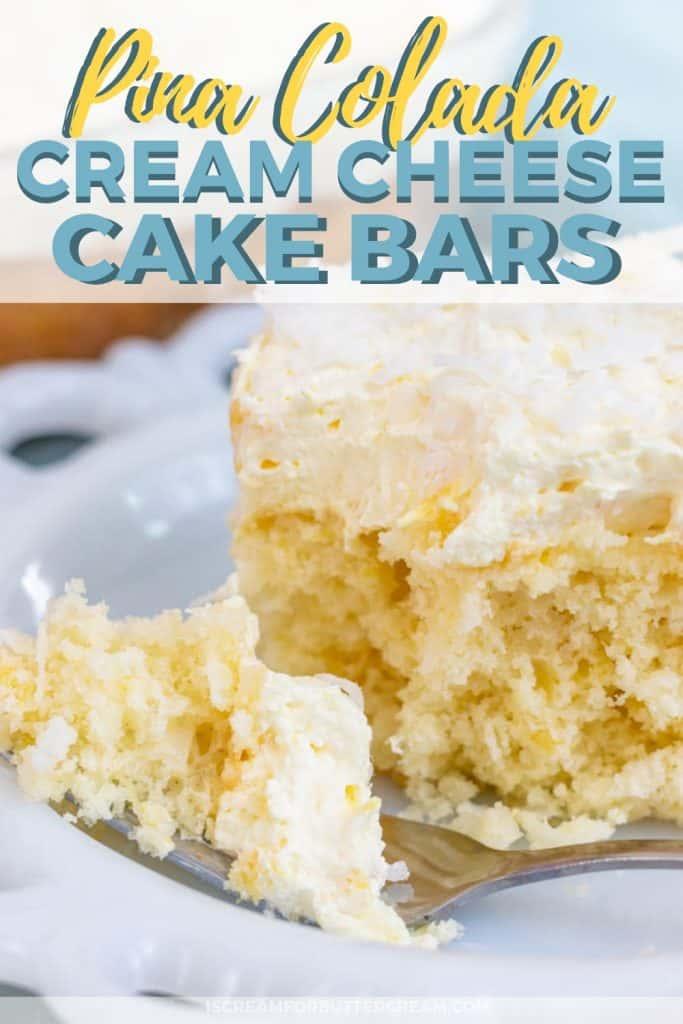 Pina Colada Cream Cheese Cake Bars