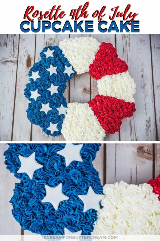 Rosette 4th of July Cupcake Cake Pinterest Graphic
