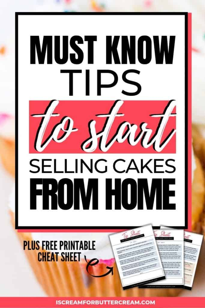 Tips for selling cakes from home pin graphic