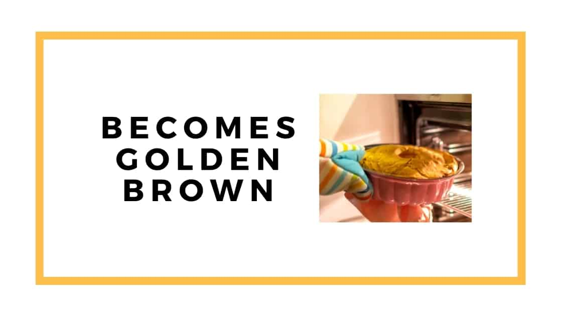 golden brown cake graphic with bundt cake