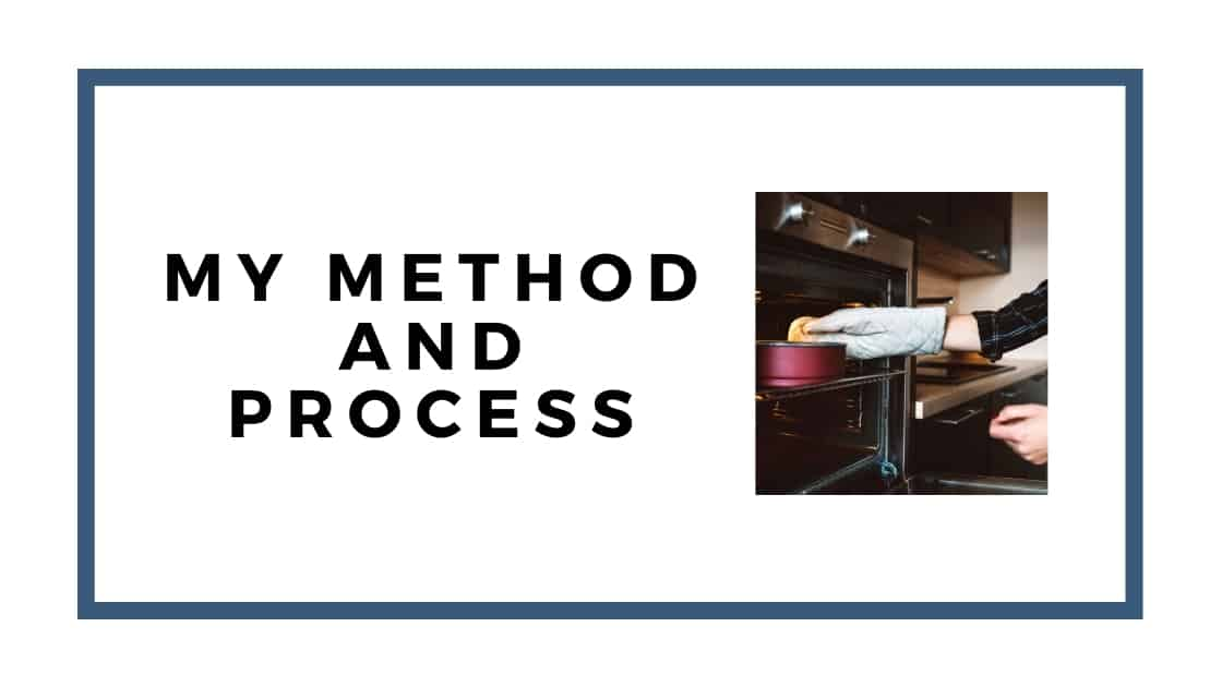 my method graphic with cake in oven