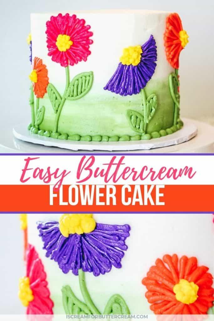 easy buttercream flower cake new pin graphic 1