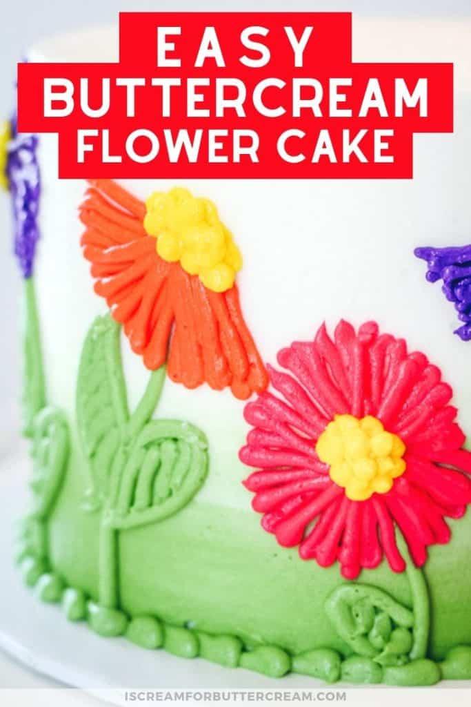 easy buttercream flower cake new pin graphic 3