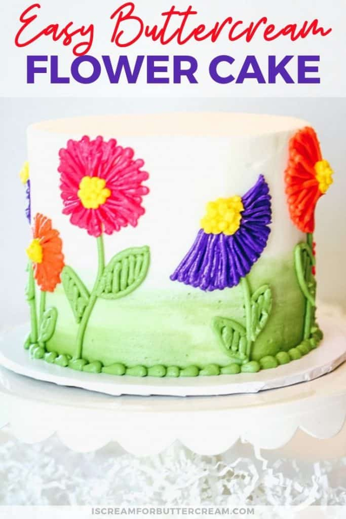 easy buttercream flower cake new pin graphic 2