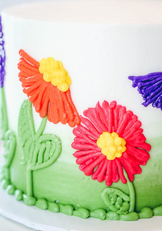 close up of easy piped flowers on cake