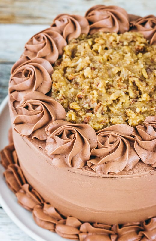 German chocolate cake with coconut pecan filling and chocolate buttercream