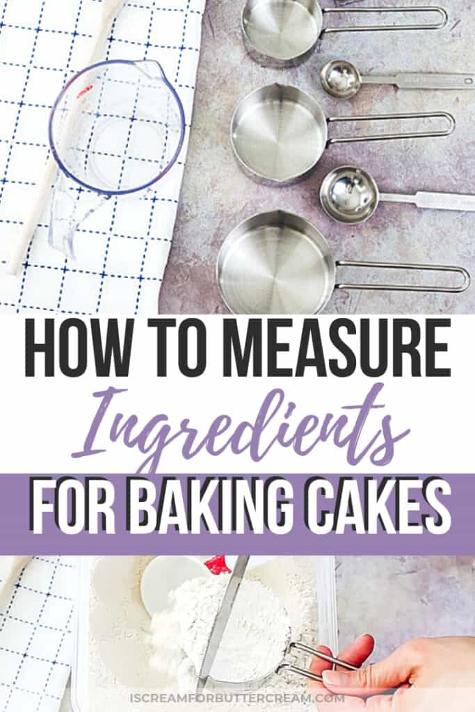 measuring ingredients for baking cakes pinterest graphic 1