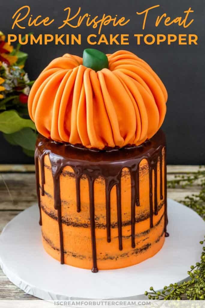 rice krispie treat pumpkin cake topper pin graphic 2