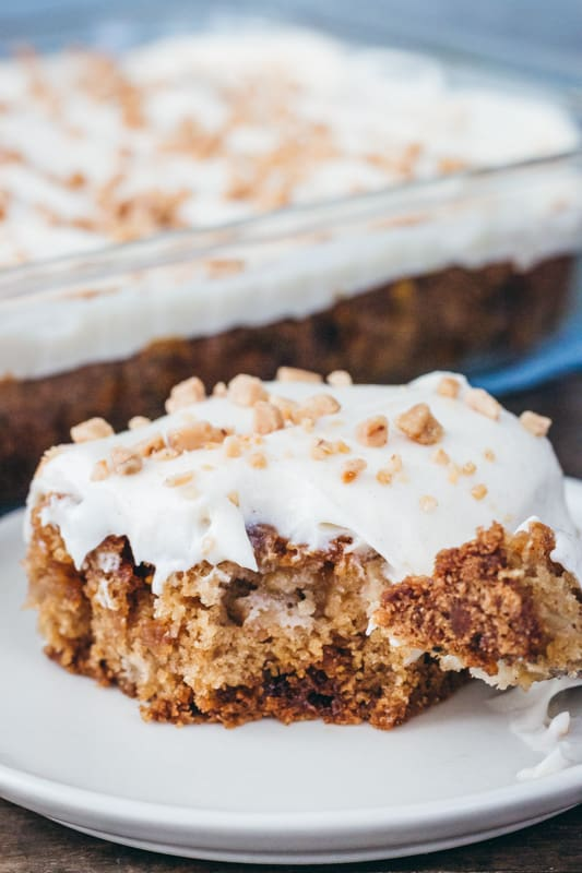 Caramel Apple Toffee Cake with fork