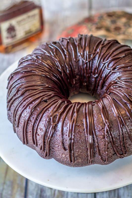 chocolate rum cake top view