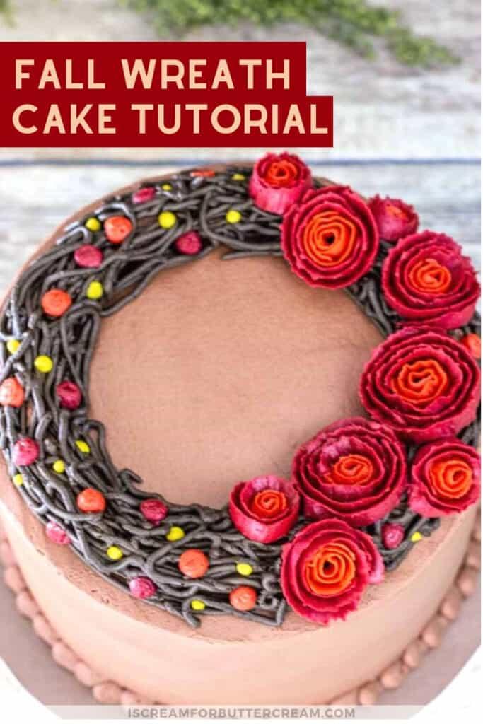 fall wreath cake tutorial new pin 3