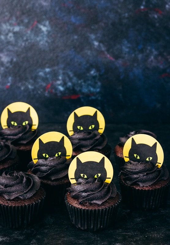 hallween black cat cupcake topper printables
