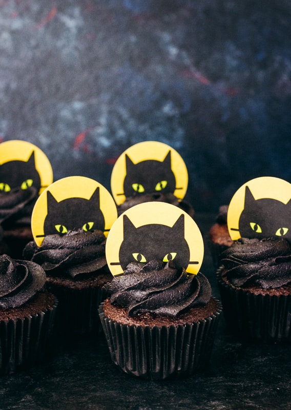 printable halloween black cat cake topper on chocolate cupcake