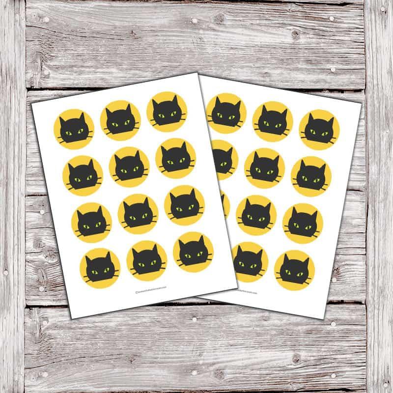 black cat cupcake topper printables