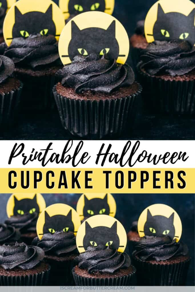 Printable halloween cupcakes with black cats