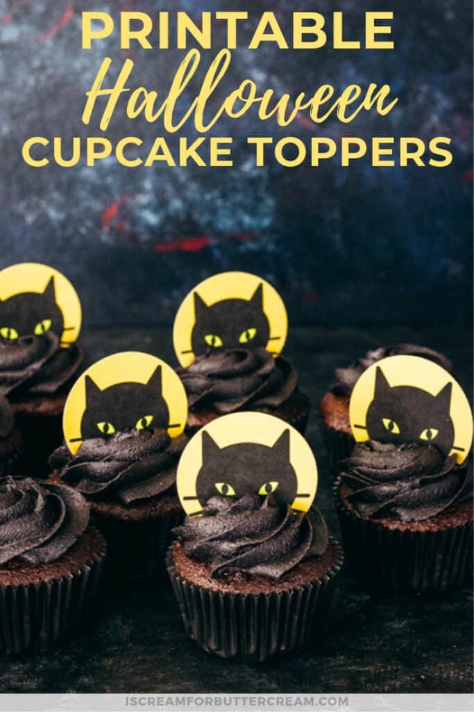 printable halloween black cat cupcake toppers