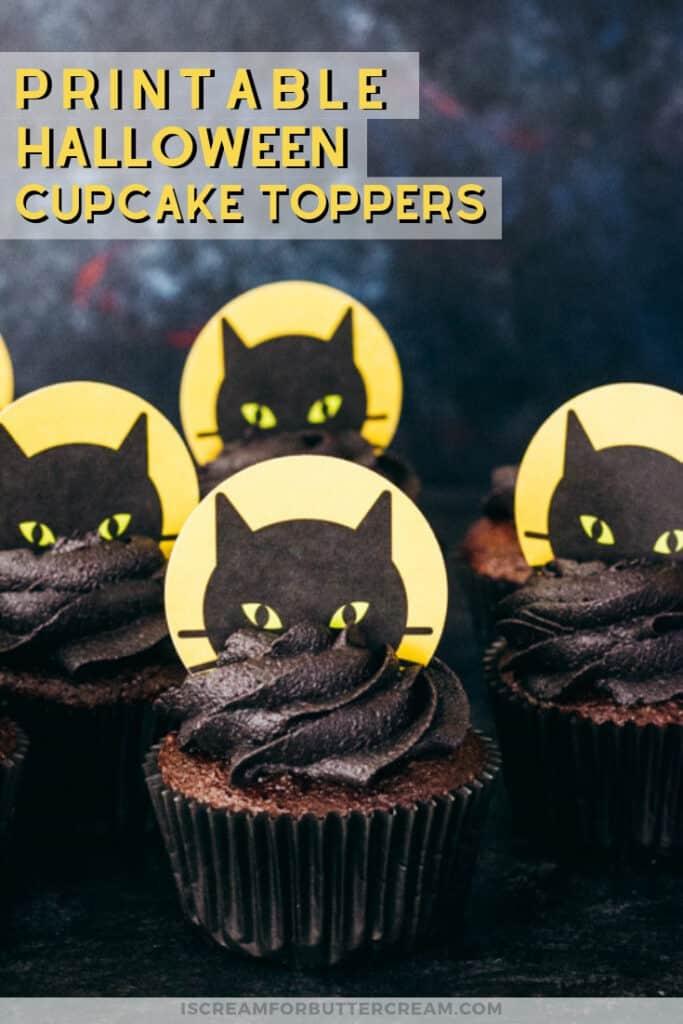 printable halloween black cake cupcake toppers pin