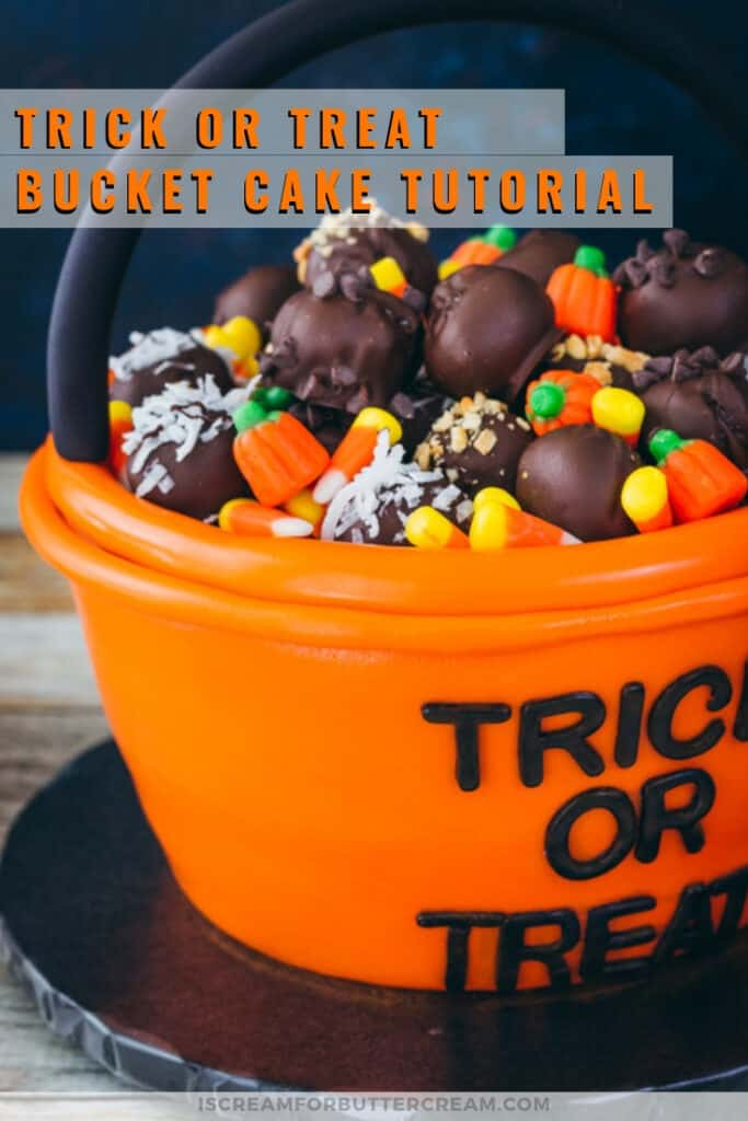 Trick or treat bucket cake pinterest graphic 3