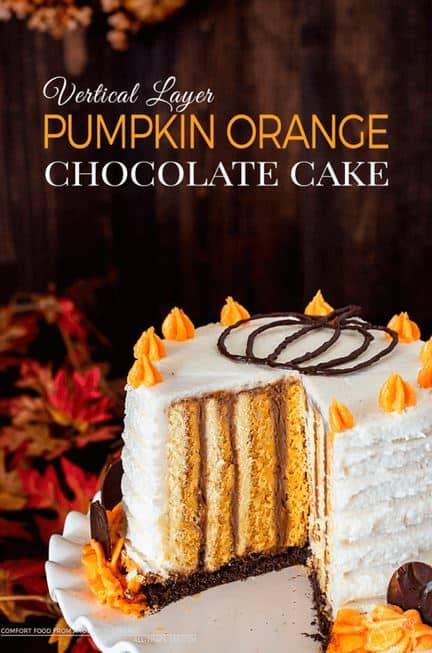 Vertical Layer Pumpkin Orange Chocolate Cake: