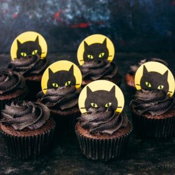 black cat cupcakes featured image