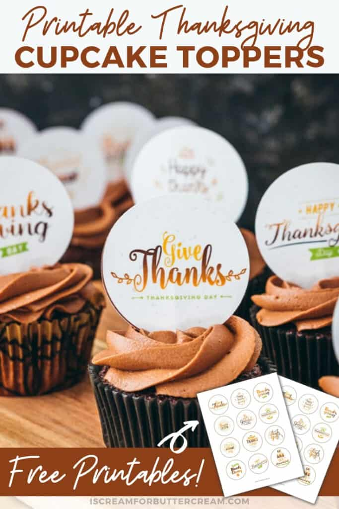 Printable Thanksgiving Cupcake Toppers Pin 2