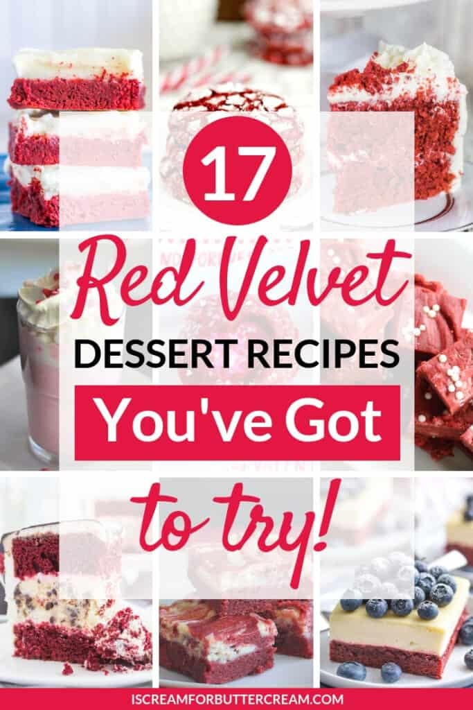 red velvet cake desserts pin graphic