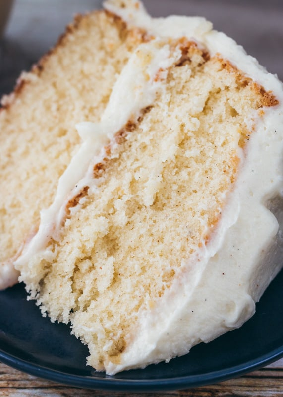 close up of spice eggnog cake slice on a plate