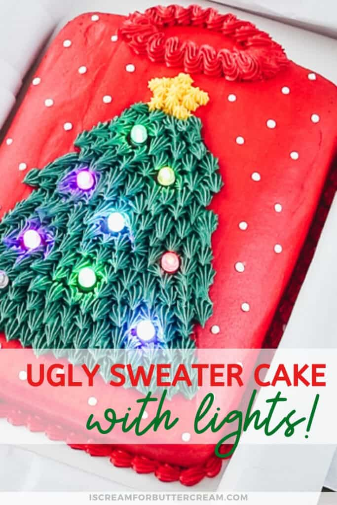 ugly sweater cake with lights pin graphic 1