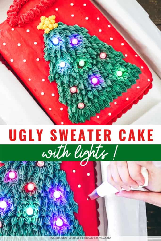 ugly sweater cake with lights pinterest graphic 2