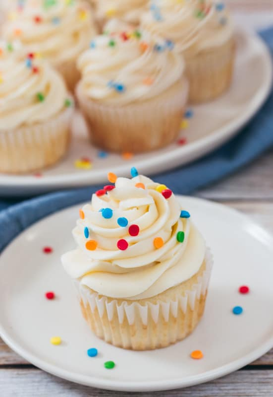 cake batter buttercream covered cupcakes with sprinkles