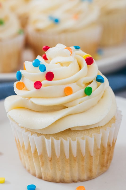 close up of cake batter buttercream on a cupcake
