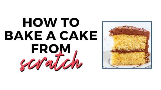 how to bake a cake from scratch small graphic