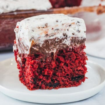red velvet oreo poke cake featured image