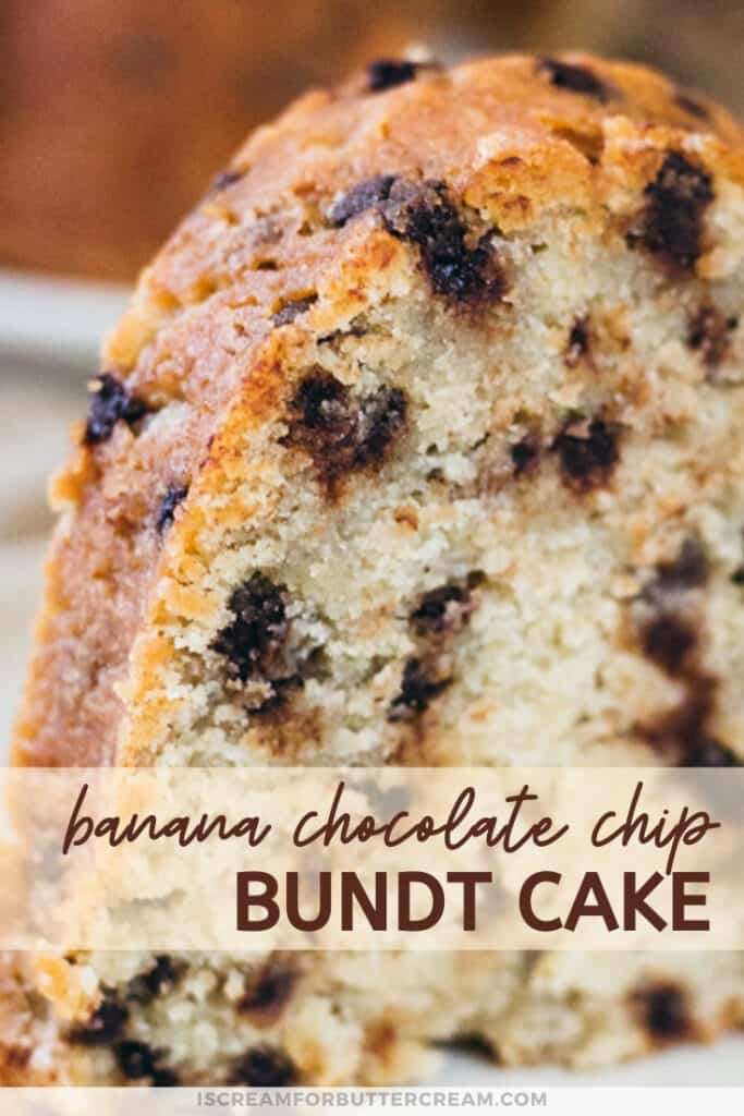 pin graphic with close up view of bundt cake slice