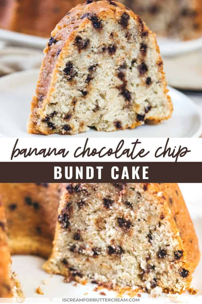 pin graphic with large slice of bundt cake with chocolate chips
