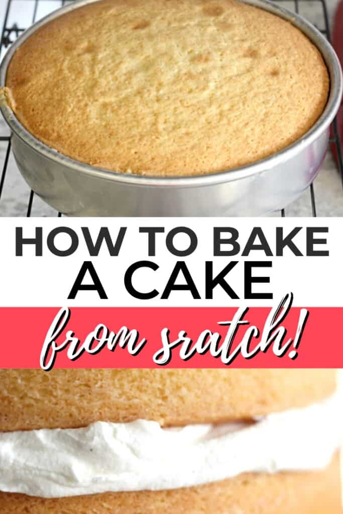 How to bake a cake from scratch pin graphic 1