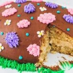 Chocolate Covered Peanut Butter Easter Egg Cake with cut slice