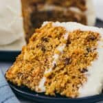 scratch carrot cake on a blue plate