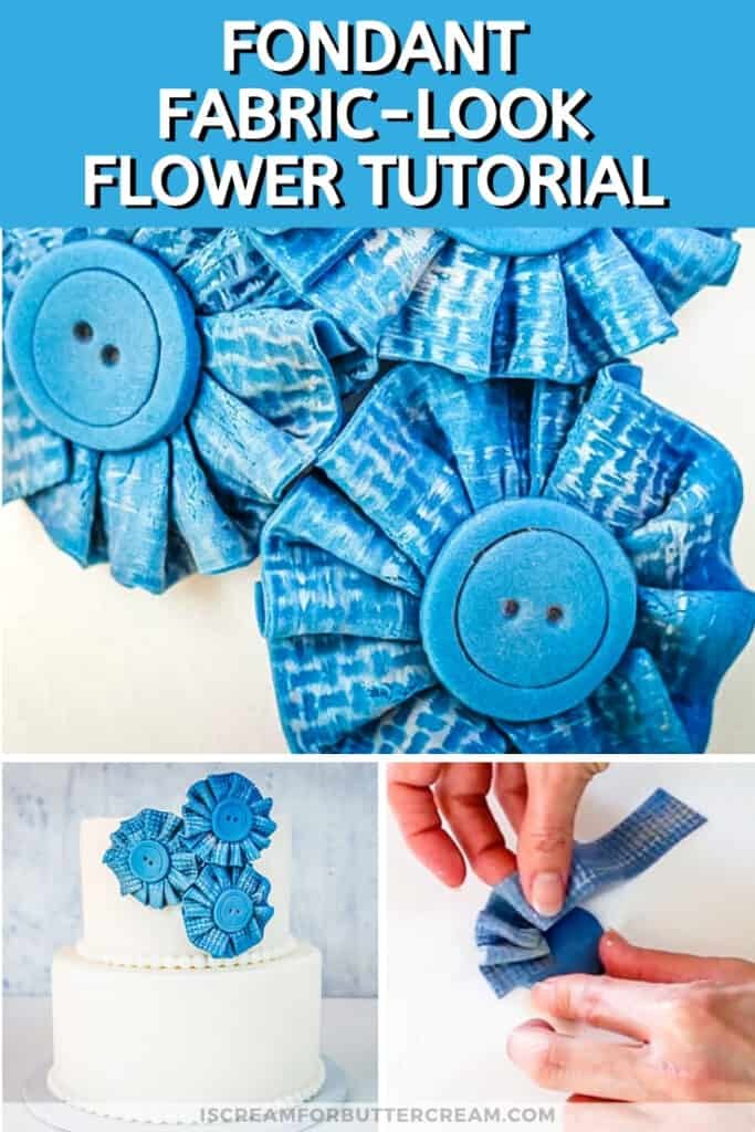 blue fondant ruffled flowers on a two tiered cake pin graphic