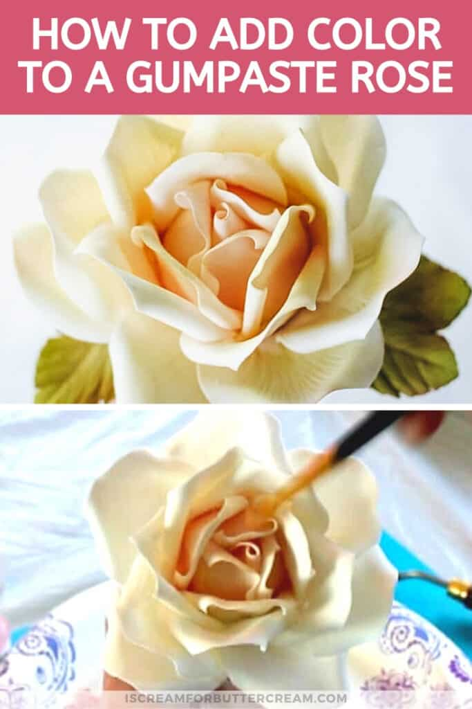 How to Add Color to a Large Gumpaste Rose pin graphic